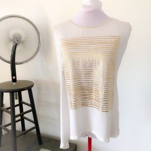 Asymmetrical White Muscle Tee with Gold Stripes